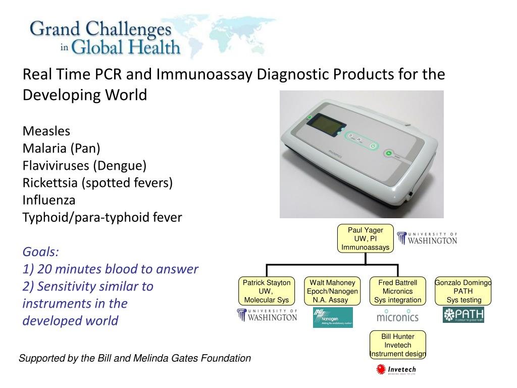 Real Time PCR and Immunoassay Diagnostic Products for the Developing World