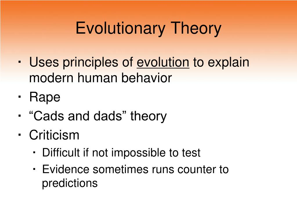 evolutionary theory l.