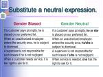 substitute a neutral expression