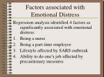 factors associated with emotional distress