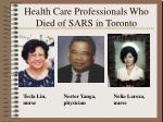 health care professionals who died of sars in toronto