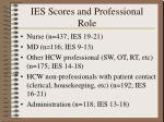 ies scores and professional role