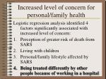 increased level of concern for personal family health
