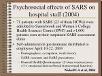 psychosocial effects of sars on hospital staff 2004