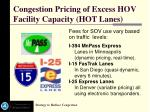 congestion pricing of excess hov facility capacity hot lanes