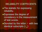reliability coefficients