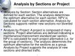analysis by sections or project