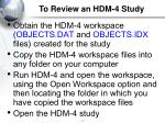 to review an hdm 4 study