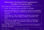 redemptions including partial liquidations example on corporate effect