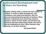 professional development and in class co teaching