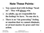 note these points