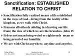 sanctification established relation to christ
