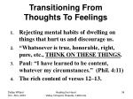 transitioning from thoughts to feelings