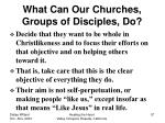 what can our churches groups of disciples do