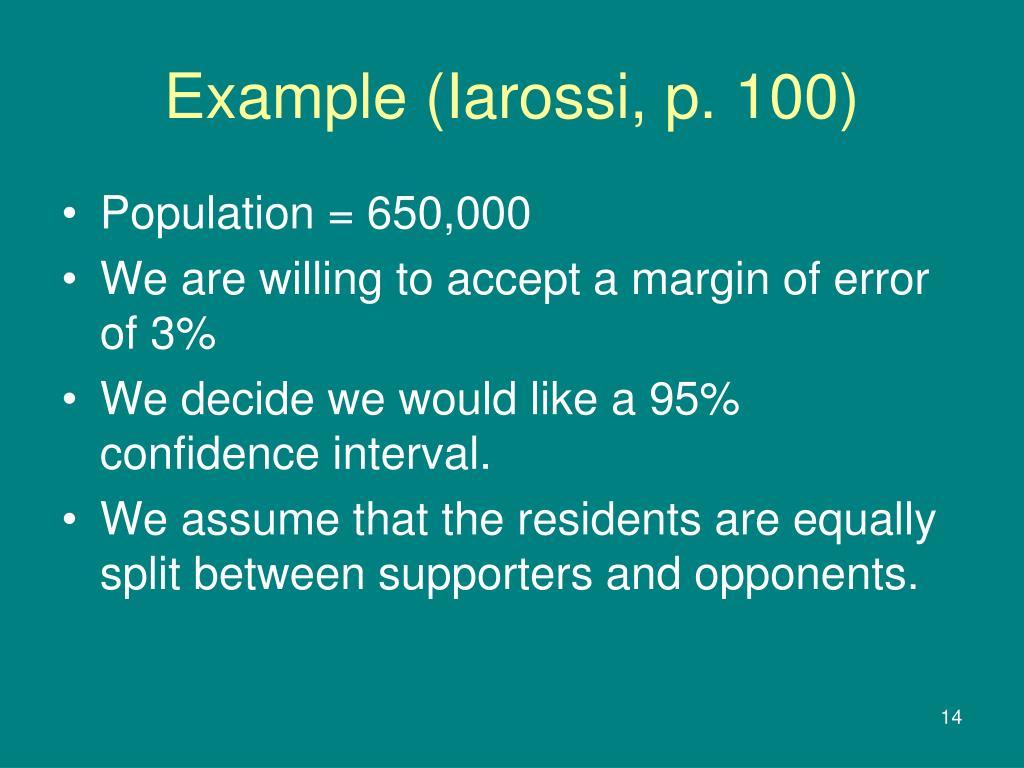 Example (Iarossi, p. 100)