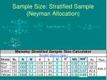 sample size stratified sample neyman allocation