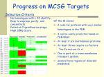 progress on mcsg targets