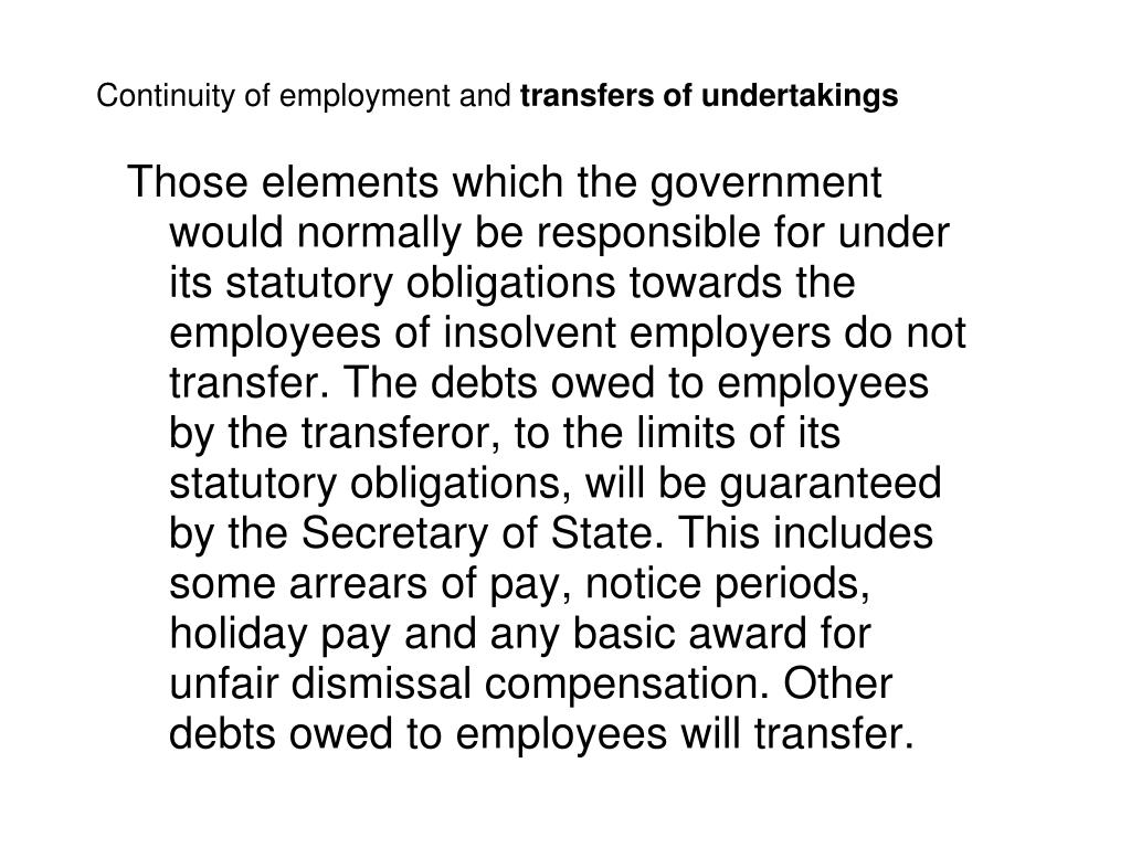 Continuity of employment and