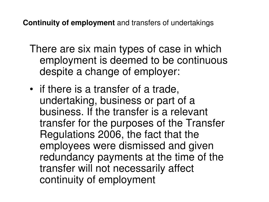 Continuity of employment