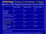 aetiology burden of hib disease in nepal based on hib rapid assessment tool of who