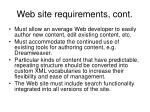web site requirements cont