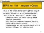 sfas no 151 inventory costs