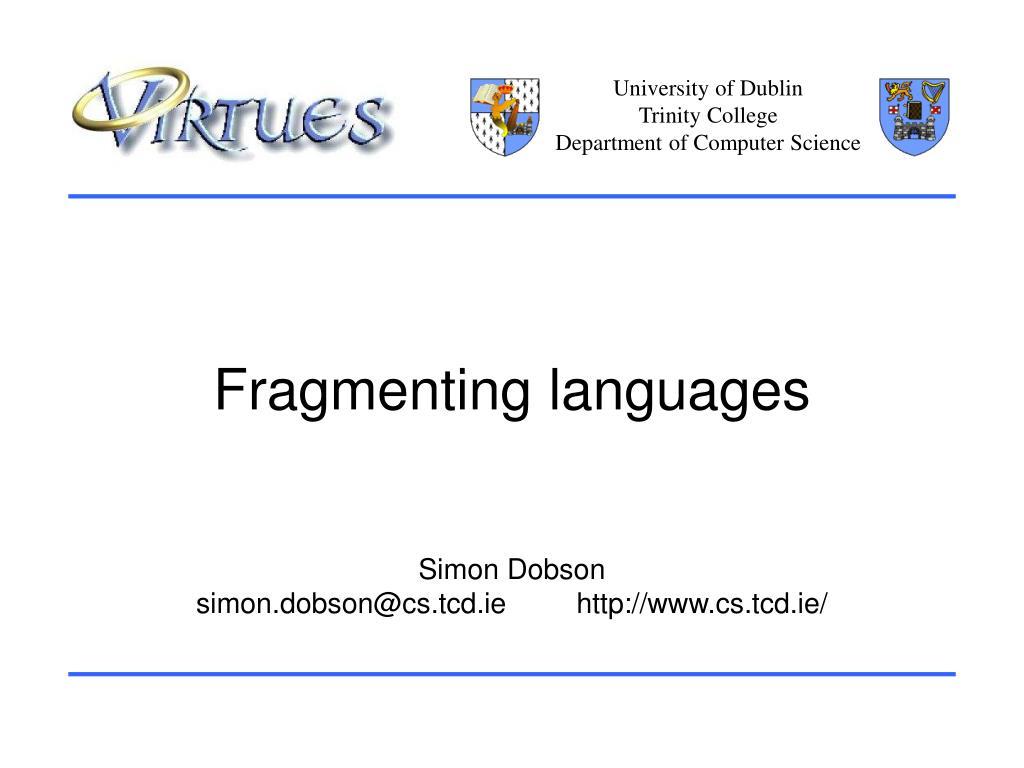 fragmenting languages l.