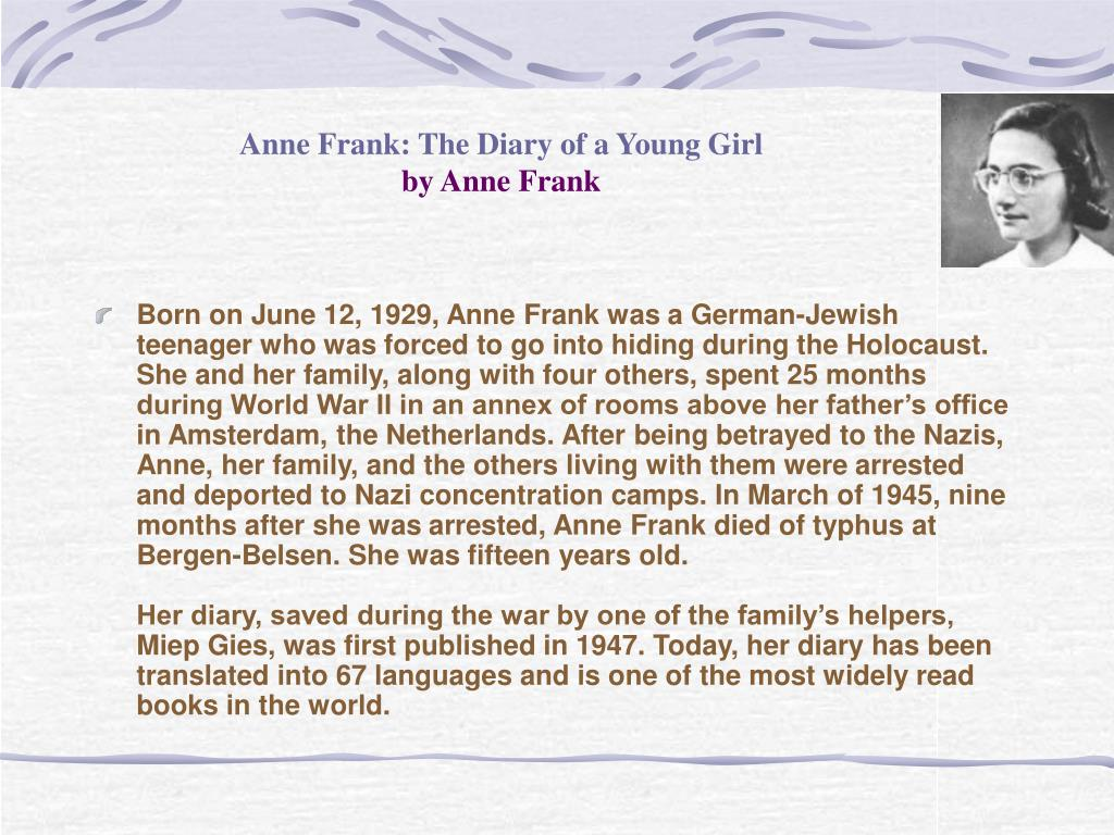 anne frank the diary of a young girl by anne frank l.