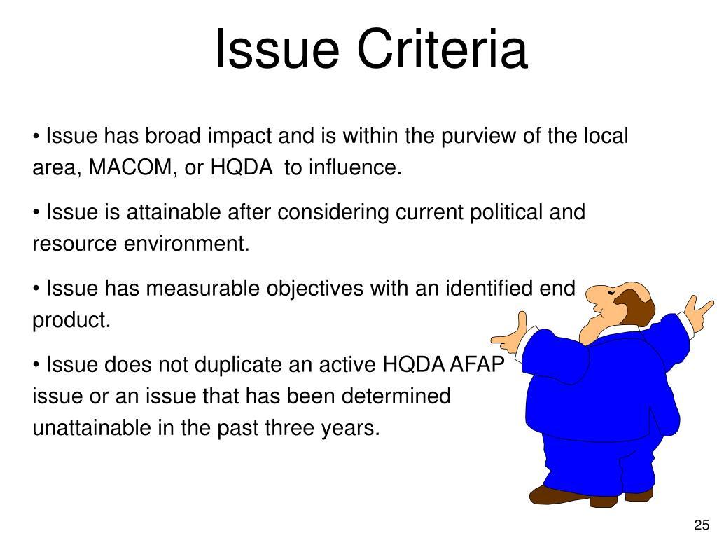 Issue Criteria