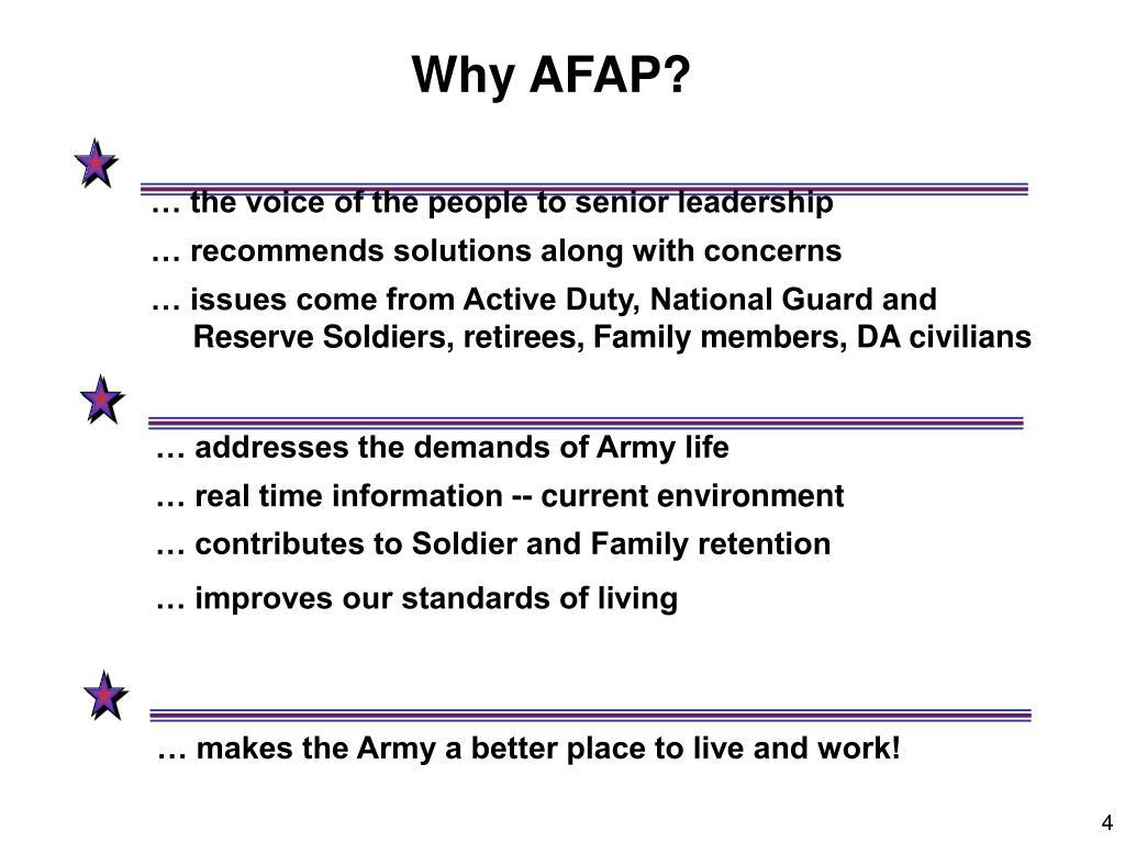 Why AFAP?