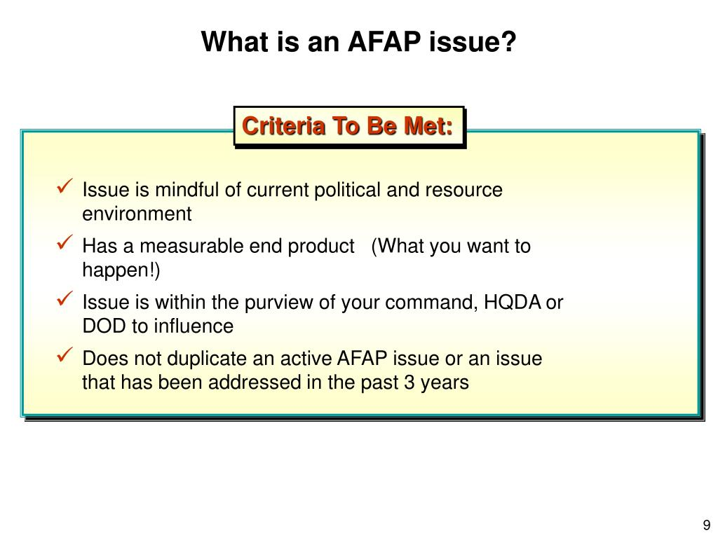 What is an AFAP issue?