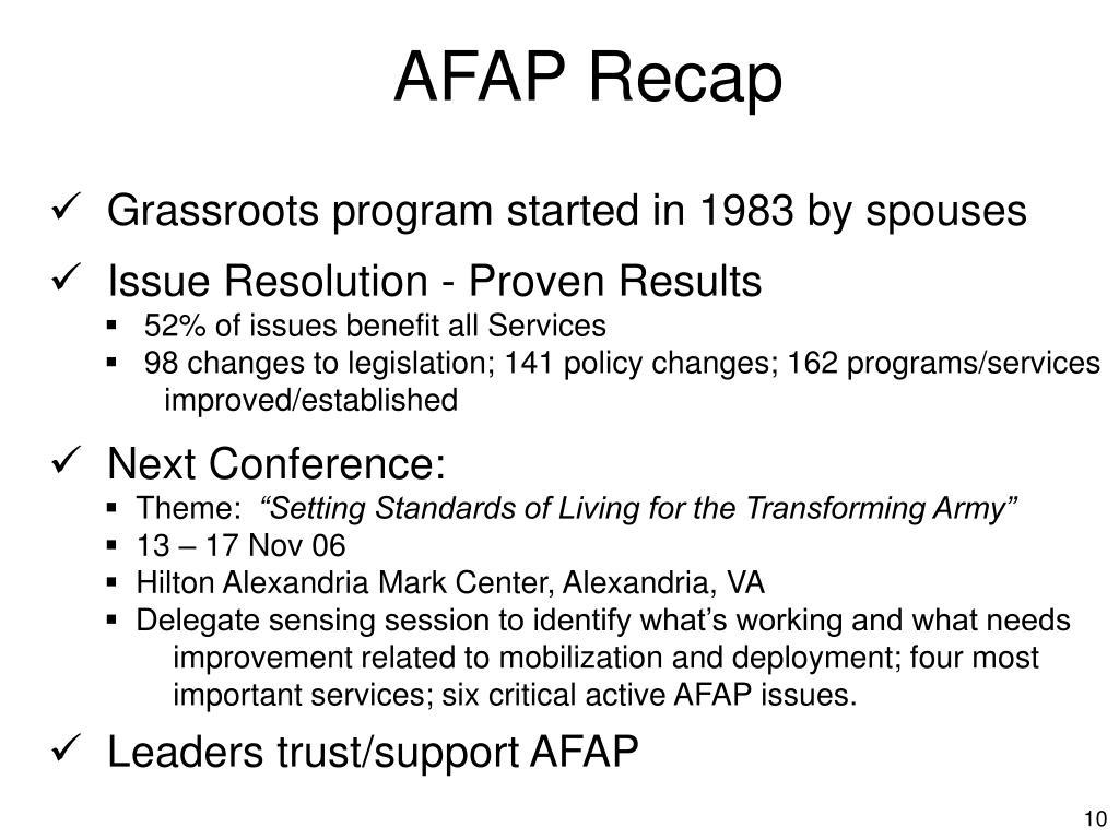 AFAP Recap