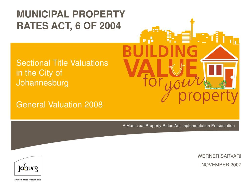 sectional title valuations in the city of johannesburg general valuation 2008 l.