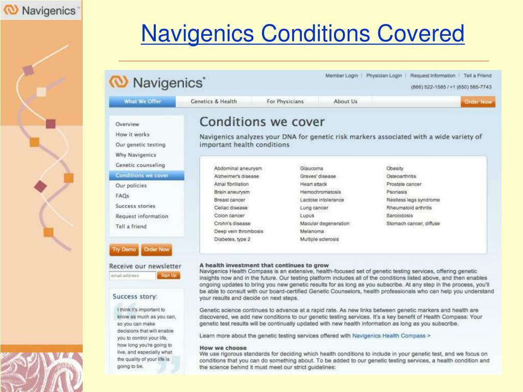 Navigenics Conditions Covered