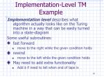 implementation level tm example10