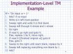implementation level tm example11