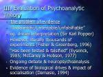 iii evaluation of psychoanalytic theory