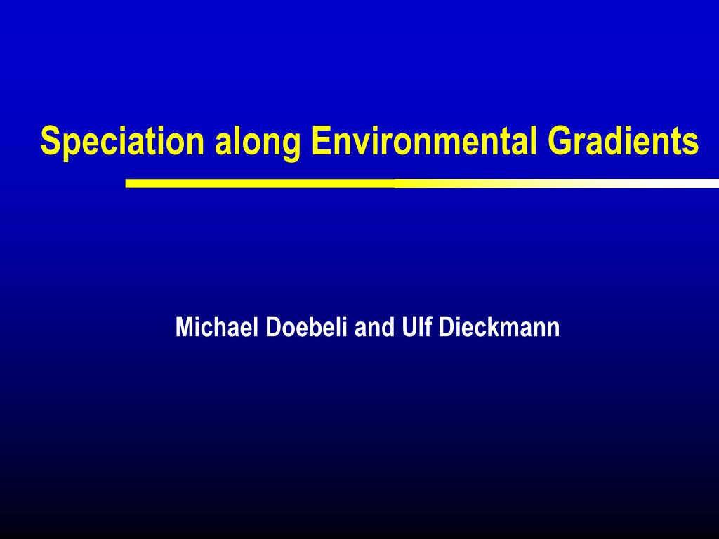 speciation along environmental gradients l.