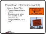 pedestrian information cont d