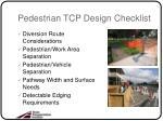 pedestrian tcp design checklist
