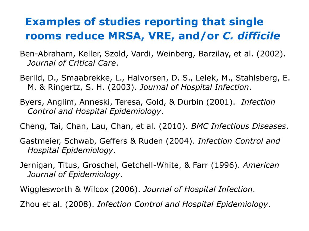 Examples of studies reporting that single rooms reduce MRSA, VRE, and/or