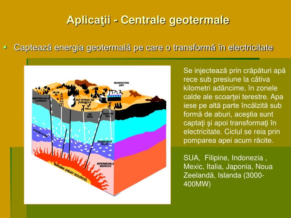 Aplicaţii - Centrale geotermale