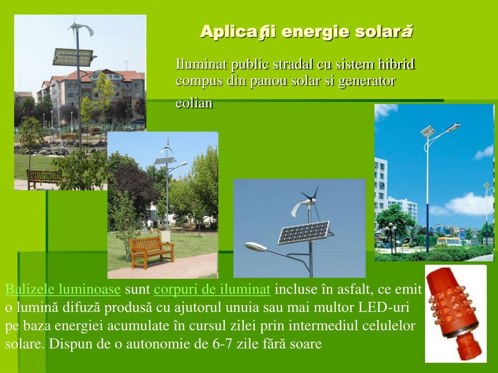 Iluminat public stradal cu sistem hibrid compus din panou solar si generator eolian