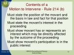 contents of a motion to intervene rule 214 b