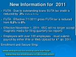 new information for 2011