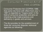 consumer protection act of 1986 copra