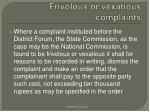 frivolous or vexatious complaints
