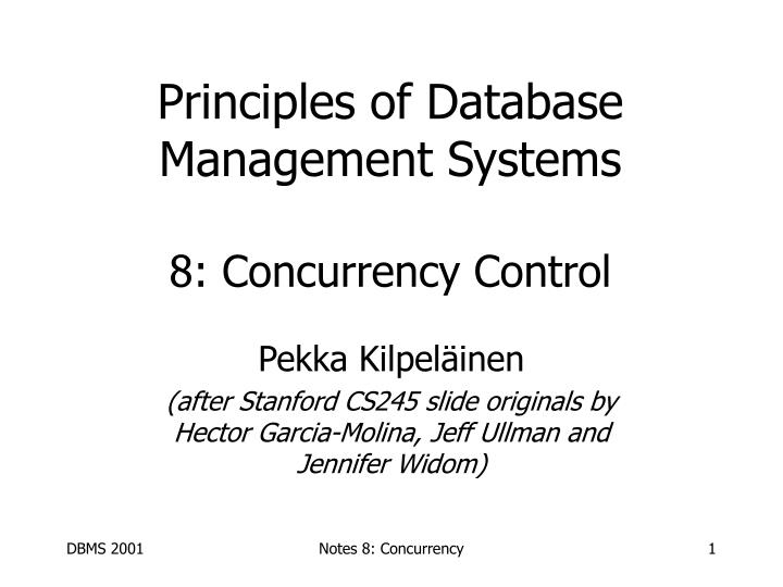 principles of database management systems 8 concurrency control n.