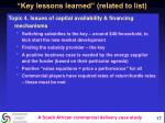 key lessons learned related to list1