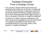 feedback examples from a zoology course